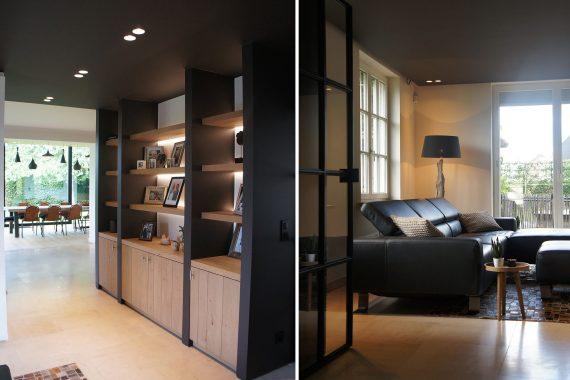 donker hout en zwarte afwerking in interieur